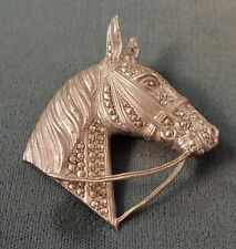 Great ALICE CAVINESS LARGE Horse Head Brooch Sterling Silver & Marcasite  Signed