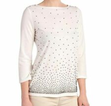 Peck & Peck Faux Pearl Embellished Stretchy Knit Top Size S~XL