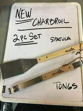 2 PC SET OF NEW CHARBROIL UTENSILS - SPATULA & TONGS  -  WOOD HANDLES