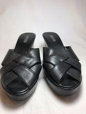 Reaction by Kenneth Cole Black Platform Mules Sandals  Peep Toe Size 8 M