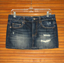 AMERICAN EAGLE WOMEN'S DENIM JEAN DISTRESSED SKIRT ~ SIZE 2 ~ BUTTON FLY