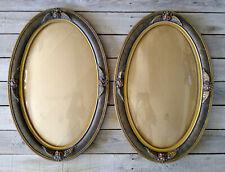 XLNT Pair Vintage Art Deco Polychrome Floral Oval Picture Frames Convex Glass