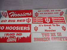 "8 Different Indiana Hoosiers Bumper Stickers. Assorted 11-1/2"" x 3""  N420/436"