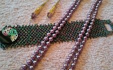 JEWELRY SET LOT VINTAGE NECKLACE BRACELET EARRINGS PURPLES GOLD  TONE MOTHERS DY
