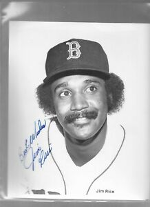 8 x 10 Black & White Photo Autograph JIM RICE Boston Red Sox  BEST WISHES