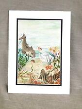 1990 Original Book Illustration The Water Babies Artwork Painting Ocean Fish Art