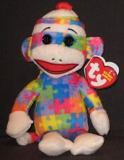 "TY 9"" SOCK MONKEY ( PUZZLE) BEANIE BABY - MINT with MINT TAGS"