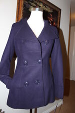 NEW Miss Sixty Women's Double Breasted Hooded Wool Peacoat-PURPLE- Small