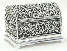 Jewellery Box or Trinket Casket -Domed Lid with silver plated pierced metal