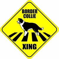 """BORDER COLLIE XING CROSSING ROAD SIGN 5"""" DOG SILHOUETTE STICKER"""