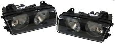Black clear finish headlights front lights for BMW E36 Compact 94-00