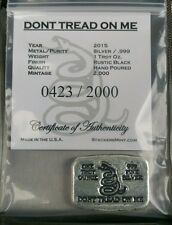 1 oz .999 Silver hand poured second amendment Snake don't Tread on me Gadsden
