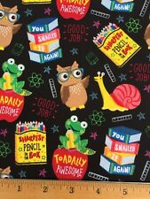 """100% Cotton Fabric Back To School OWL FROG SNAIL 18""""x22"""" FQ DIY Mask / Quilting"""