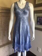 New Komarov Charmeuse Dress Embellished Neck Blue Medium