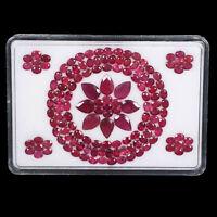 Natural Ruby 4mm-9mm 129 Pcs Mix Cut Sparkling Red Premium Loose Gemstones Lot