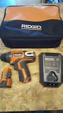 Ridgid 12 Volt Lithium Ion 3/8 in. Cordless 2 Speed Driver Drill Kit LED Light