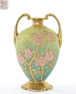 "Old Japanese Nippon Coralene Porcelain Green Blue Handle Vase Roses Mk 9"" 22CM T"