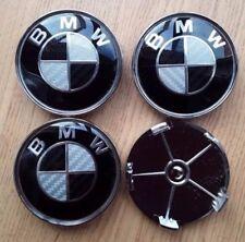 4x Carbon nero/argento Si Adatta BMW serie più 68 mm lega ruota centro tappi 5 Pin