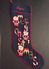 "Stephen Needlepoint Christmas Stocking Personalized 24"" Merry Santa Steinwinder"