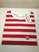 Wheres Wally Waldo Red & White Striped Fancy Dress T Shirt Medium - Wicked Fun