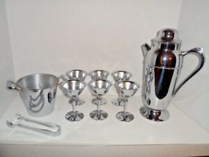 Chrome Silver Bar Cocktail Set Shaker Ice Bucket 6 Glasses MCM