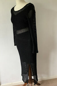 Duo Duo Fashion Black Dress Size 10-12 Crochet Lace Overlay Long Sleeve Retro