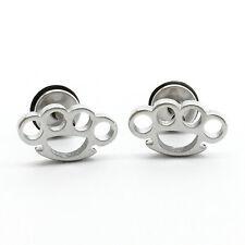 Super Cool Stainless Steel Punk Brass Knuckle Earrings