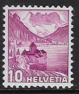 Switzerland 1936 Landscape Defn 10c Red Vio, Grilled Sc#229d/ Zum 203Az -cw79.99