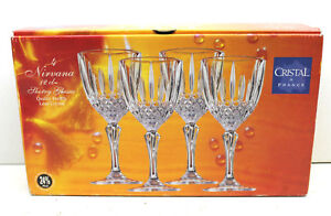 4 pc Cristal France Lead Crystal Nirvanna 12cl Sherry Wine Glasses 24 PbO NIB