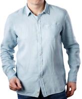 Pepe Jeans Presti Linen Shirt Mens LS Light Blue Button Up Size S *REF81