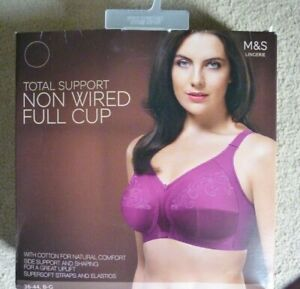 Marks & Spencer Total support Full Cup Purple Embroidered Bra 42B Non Wired