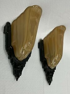 Antique c.1930's Pair M.E.P Inc Slip Shade Wall Sconces Electric Wall Lamp