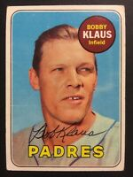 Bobby Klaus Padres Signed 1969 Topps Baseball Card #387 Auto Autograph 2