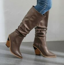 British Women Mid Calf Boots Pointy Toe Western Cowboy Chunky Heel Shoes Outdoor