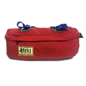 Vintage 70s REI Co-Op Canvas Camp Hiking Waist Pack Lower Compartment Bag Red