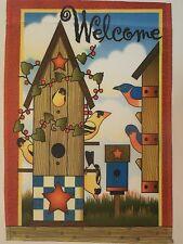 """Welcome"" Neighborhood Birds, Primative Style Birdhouse, Goldfinch, House flag"