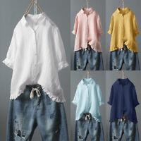 Women Linen Button Shirt Summer Short Sleeve Casual Baggy Blouse Tops Plus Size