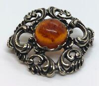 Vintage Sterling Silver Brooch Pin 925 Baltic Amber Floral Orange Nouveau