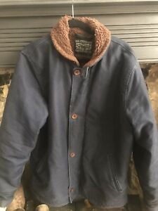 Mens XL Levis navy deck/chore jacket wth shawl fur collar like US Navy replicas