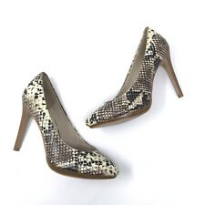 Mossimo Pumps Womens Size 8 Brown Snake Print Wooden Heels Closed Round Toe