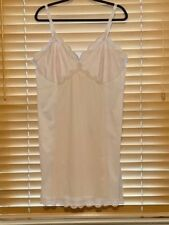 Vintage 1960s Sears Pink Nylon Full Slip w/Embroidered Bodice. Size 44