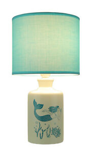 White and Blue Ceramic Swimming Mermaid Table Lamp with Fabric Shade