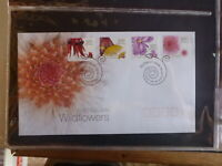 2005 AUSTRALIAN WILDFLOWERS SET 4 PEEL & STICK STAMPS FDC FIRST DAY COVER