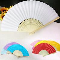 1pc-10pcs Chinese Hand Holding Wooden Paper Fan Dance Wedding Party Silk Fan Lot