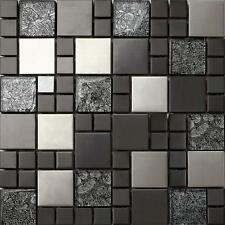 1 SQ M Hong Kong Mix Random Brushed Steel Black Glass Mosaic Wall Tiles 0002
