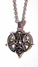"Wiccan Goddess Pentagram Triple Moon Heart Design 18"" Necklace Pagan Pendant"