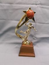 male basketball trophy full color ball backdrop wood block base