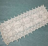 Vintage Crochet Table Runner Doily Cotton Dresser Scarf Beige Lace 13x36 in