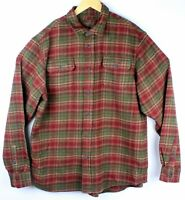 Orvis Men Large Big Bear Heavy Thick Cotton Plaid Flannel Shirt Jacket Red Green