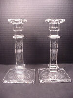 Candle sticks Holders Pair Early 20th C Etched Glass Matching Set No Chips
